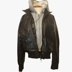 Ardene  Black Faux Leather Jacket, Faux Fur Lined